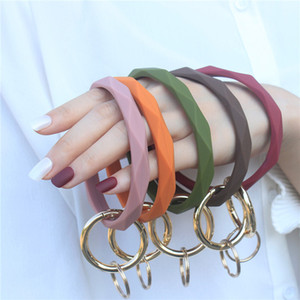 Silicone Bracelet Keychain Wrist Key Chain Round Circle Twist Bangle Key Ring Key Holder for Woman Wrist Strap Bracelets 300pcs T1I2073