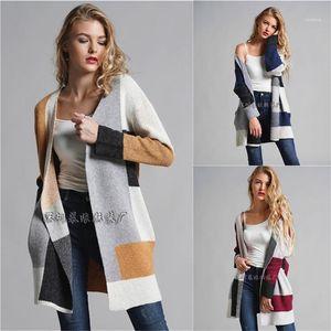 Prüfen Sweater Designer Panelled Langarm-lose Strickjacke Famale Casual- Frauen OL Pendler