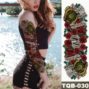 New 1 Piece Temporary Tattoo Sticker Rose scroll vintage Pocket watch Tattoo Arm Body Art Big Sleeve Large Fake sticker