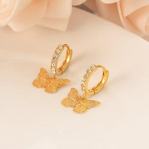 Dubai India Africa boucles d'oreilles en or paillettes gravées papillon personnalité de luxe lumière or filles de mariage fête de fiançailles cadeaux souvenirs