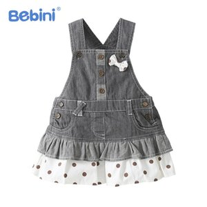 Summer and fall girls dress high quality cowboy strap Bow baby girl dress clothes costume for kids 0-4years