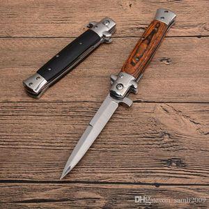 Новый итальянский Крестный отец мафии Стилет горизонтальный тактический складной нож 3Cr13 деревянная ручка авто кемпинг охота выживание EDC инструменты