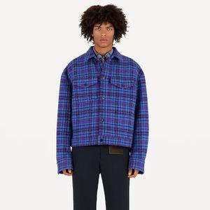 20FW Rouge Bleu Lattice court article Veste classique Coats rue vêtement chaud laine coton fibre extérieure coupe-vent New Style HFHLJK108