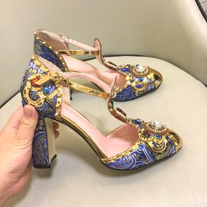 Luxo Pérola Strass Retro Mary Janes Embellished T-cinta de Salto Alto Bombas Azuis Jacquared Bordados Sapatos de Festa