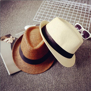 Çocuklar Panama Hasır Şapka Yumuşak Çocuklar Fedora Kemer Şapkalar Yaz Kadın Erkek Açık Küçük Brim Seyahat Plaj Güneş Cap TTA1216-14