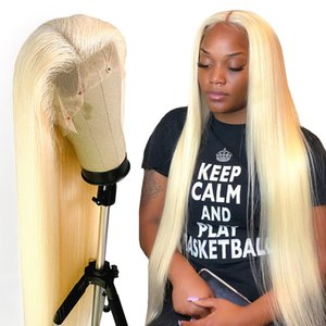 8-24 inch full lace wig Blonde straight virgin Brazilian human hair #613 color hair straight Swiss lace frontal wigs Free Shipping