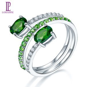 Anel Primavera sólida prata esterlina 925 por Mulheres real Natural Gemstone verde Chrome Diopside Similar diamante Fine Jewelry Wholesale presente NOVO