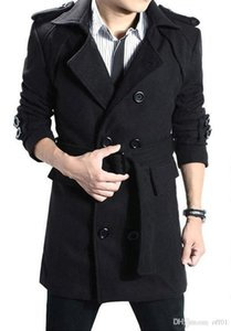 Men's Autumn Winter Plus Long Slim Casual Solid Color Woolen Coat Jacket Youth Fray Black Fashion Wool Jacket