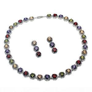 Natürliche Edelstein-Schmuck Sets Halskette 925 Sterling Silber Saphir Kirsche Rubin Zirkonia Smaragd Frauen Nizza Geschenke