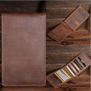 Business Holder For Men Wallet Crazy Horse Genuine Leather Vintage ID Case Slot Organizer Men's Purse Slim B2077 15%