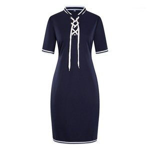 Collar With Ribbon Pencil Dress Fashion Designer Panelled Dress 6XL Womens Summer Casual Dress Stand