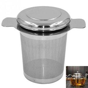 Maille fine Passoire à thé Couvercle thé et filtres à café réutilisables en acier inoxydable Thé Infusers Panier avec 2 poignées DHB646