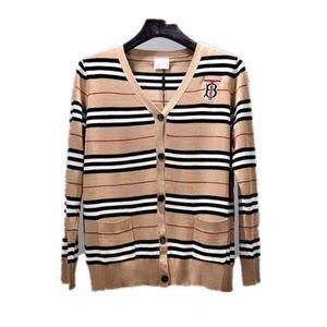Womens Knitwear Spring Women's Classic Striped Cardigan Round Collar Burst Jacket