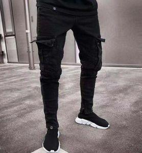 19SS Herren Designer Jeans Spring Black Ripped Holes Design Jean-Bleistift-Hosen-Taschen Hommes Pantalones
