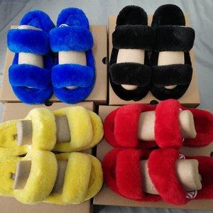Pelusa Sí Slide azul de neón amarillo FurSlipper Hausschuhe Moda Pantoufles de lujo de las mujeres del diseñador sandalias Pantoufle hombres peludos Zapatilla E35