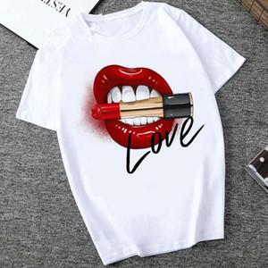 여성 레드 입 립 사랑 프린트 T 셔츠 자료 O -Neck 짧은 소매 여성 티셔츠 모든 -match 화이트 티 재미 여자 셔츠 탑
