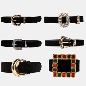 Dvacaman Belts 2019 cintos de couro Lady Mulheres Moda de Nova Boho Vintage metal duplo Buckle Belt cintura Cintura alta qualidade