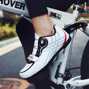 Hommes Chaussures de cyclisme sur route en caoutchouc Soles Triathlon Outdoor Racing Chaussures Mesh respirant Mountain Bike Taille Plus 39-46