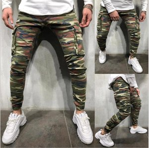 Mens Camouflage matita dei jeans di moda grandi tasche pantaloni di stirata Streetwear Hip Hop Uomo Casual Pantaloni a sigaretta