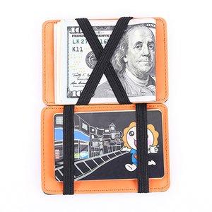 Money wallet Clip per il caso di cuoio uomini dell'unità di elaborazione Bifold Solid magica soldi creativo Slim borsa carta di credito Caso Unisex Portafogli