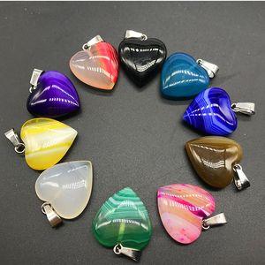 50pcs / lot Coeur Forme Naturelle Agate Perles De Pierre Pendentifs Pour DIY Bijoux Collier Faire Mix Couleur 20mm Agate Pendentif En Pierre