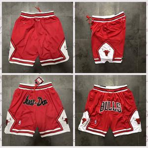 Men ChicagoBullsJersey 23 Michael JD Just Don RED JD Pocket Sweatpants 23 Jodannba Home Basketball Shorts Size S-XXL