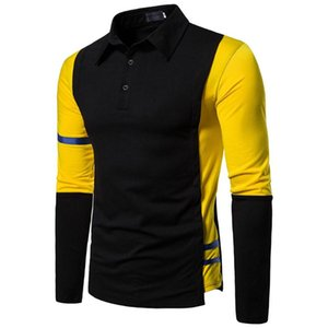 Men's Solid Color Stitching Button Slim Fit T-shirt Turn-down Collar Long Sleeve Top Business Casual Blouse Lapel Shirt #BL4