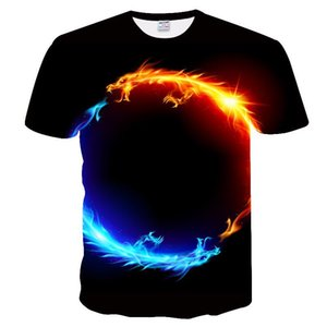 2020 European and American hot sale new Amazon explosion models 3D digital printing T-shirt water fire dragon planet summer top T-shirt