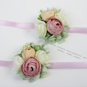 Artificial Peony Bride Groom Bouquets Bridesmaids Corsage Brooch Hand Wrist Flowers Party Festive Supplies Wedding Decorations AL6437