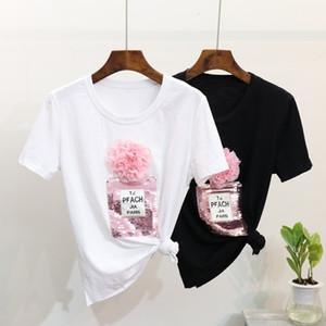 2018 Primavera Estate T Shirt 3d Floral Paillettes Bottiglia Tshirt Cotone Tops Donna T Shirt Y19051301