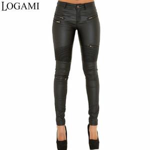 Logami Kunstlederhose Frauen elastischer Reißverschluss Lederhose Hose 2018 Leren Broeken Y190430