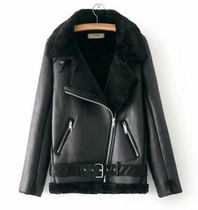 NOVO Mulheres Designer Casaco de Inverno da motocicleta Velvet 2020 Marca Jacket feminino curto lapelas pele grossa Versão Coreana preto Parkas Tamanho S-L