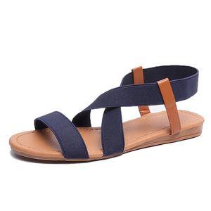 Flat Sandals Women Shoes Gladiator Open Toe Elastic Flat Sandals Female Casual Women's Flat Platform Beach Shoes