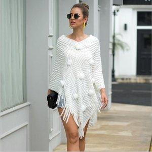 Herbst-Winter-Pullover Frauen Umhänge v-nevk Pullover Poncho und Umhänge Quaste gestrickter Schal Outwears elegante Umhänge Wraps Damen