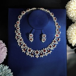 extravagant luxury Red flowers Set Necklace Earrings Ball party High end jewelry Celebrities Free shipping Sector gift Twinkle personality