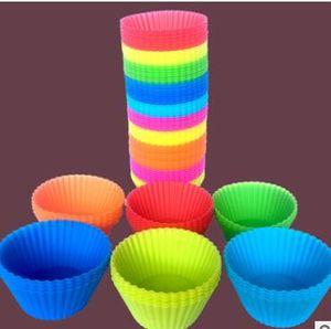 Mischungsfarbe runde Form Silikon-Muffin-Kuchen-7cm Form Bakeware Maker-Form-Behälter Backen Cup Liner Backformen