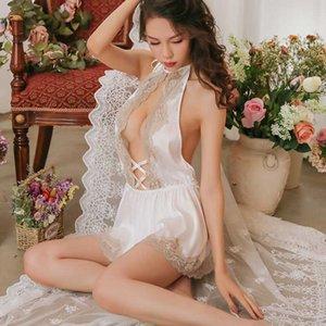 Yeni Lolita saten Seksi Mousse kadınların uyku aşınma seksi dantel Backless kısa elbise gece genç kız derin V gece önlük tanga setleri
