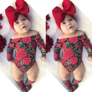 Neugeborenes Kind-Baby-Blumen-Kleidung weg vom Schulter Spielanzug Langarm-Overall Socken Stirnband Outfit