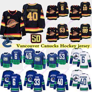 Vancouver Canucks jerseys 40 Elias Pettersson 6 Brock Boeser 53 Bo Horvat 10 Pavel Bure 43 Quinn Hughes 33 Henrik Sedin jérsei do hóquei