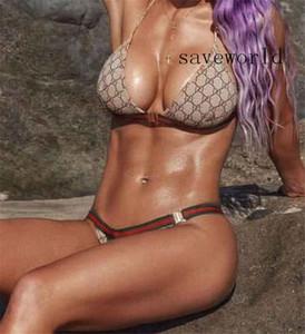 2020 Carta de las mujeres atractivas completa Impresión Bikinis Set de baja línea de la cintura del sujetador del traje de baño Mujeres Trajes de baño de dos piezas traje de baño triángulo bañista