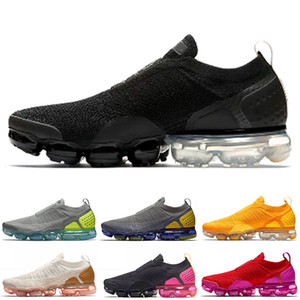 Nike Air Max Vapormax FLYKNIT Moc 2 Desenhista Black Light Creme Sapatilhas Laceless Men Running Shoes Neutro Olive NEO TURQUESA Midnight Navy Womens Shoes