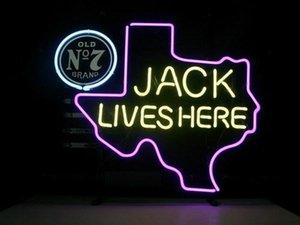 Sinal de néon Aqui Texas velho # 7 Whiskey real sinal de néon Luz Beer Bar Para Jack Daniels Lives Bar Beer Clube Pub Na parede da sala