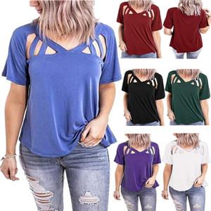 Выдалбливают Дизайнерские Футболки Женщины Сплошной Цвет Свободные V Образным Вырезом С Коротким Рукавом Пуловер Футболки Повседневная Мода Женщины Тройники