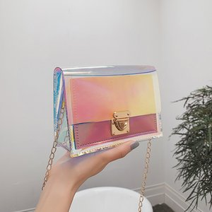 Free2019 Insert Laser Lock Small Square Package Trend Bag Woman Packet Single Shoulder Satchel Ins Exceed Fire Chain