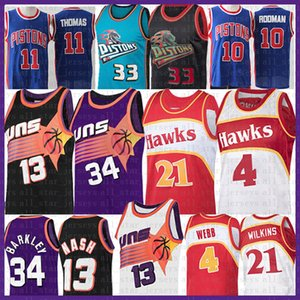 Steve 13 Nash Charles 34 Barkley NCAA Basketball Jersey Spud 4 Webb Dominique 21 Wilkins Isiah Hawk Thomas Dennis Grant Rodman Hill Piston