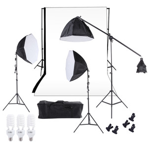 Photographie Freeshipping Éclairage de studio Kit Softbox Photo Studio Équipements Backdrop Softbox cantilever Pieds de Ampoules Sac de transport