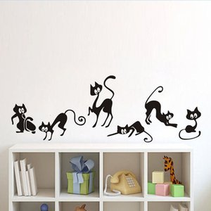 New Lovely 6 Black Cute Cats Wall Sticker Moder Cat Wall Stickers Girls Vinyl Home Decor Cute Cat Living Room Children Room