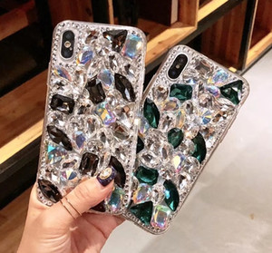 Pour iPhone 11 Glitter Full Diamond Couverture arrière Handwork strass Bling Phone Etui cuir avec Tassel Tide pour iPhone X 10 6s