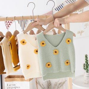 Automne 2020 Nouveaux enfants Fleur Tricot Gilet Sweet Enfants Fleurs Sweet Sweat Heart Col Collier Petite Daisy Trains Tricotés Tops C6478
