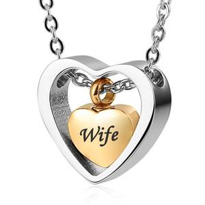Personalisierte Gravur Custom Edelstahl Double Heart Gold Anhänger Cremation Urn Halskette für Asche Andenken Memorial